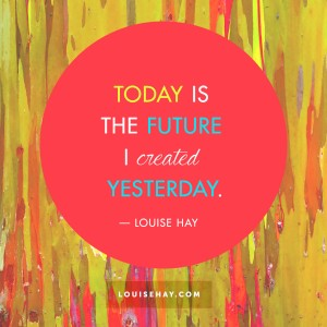"Inspirational Quotes about inspiration | ""Today is the future I created yesterday."" — Louise Hay"