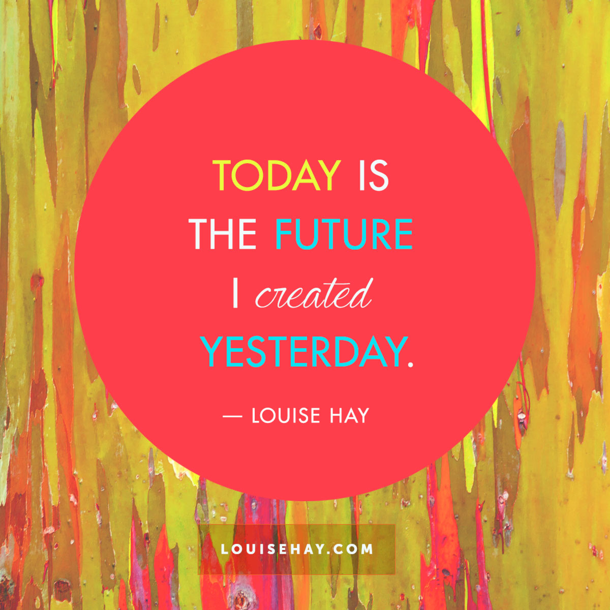 Inspirational Quotes about inspiration | Today is the future I created yesterday. — Louise Hay